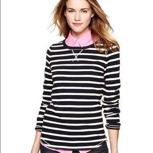 Gap Striped Elbow Patch Pullover Knit Sweatshirt